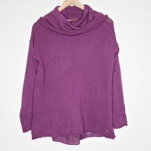 prAna Purple Cowl Neck Mesh Lightweight Sweater S